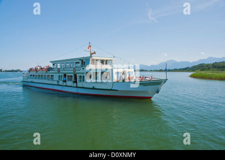 Bavaria, Germany, Europe, Upper Bavaria, Chiemsee, Herreninsel, Herrenwörth, Chiemgau, sky, castle, lake, water, - Stock Photo