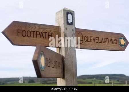 Sign post along the Cleveland Way coastal path Yorkshire England - Stock Photo