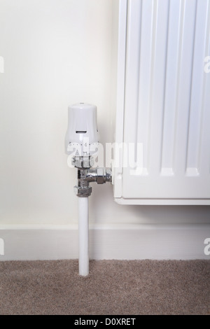 Temperature control on radiator - Stock Photo