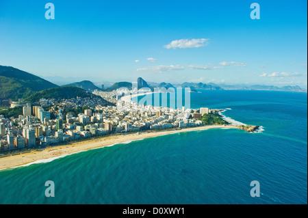 Aerial view of Ipanema and Copacabana beaches, Rio de Janeiro, Brazil - Stock Photo