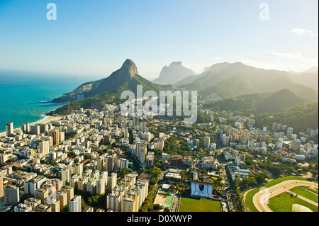 Aerial view of Lagoa and Ipanema, Rio de Janeiro Brazil - Stock Photo
