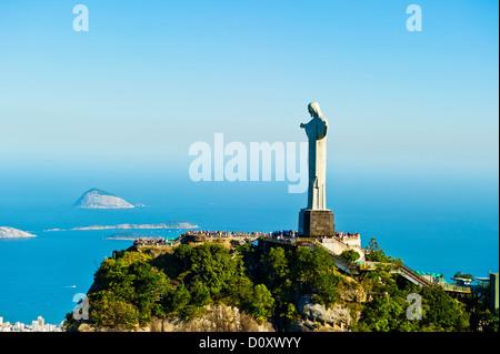 Christ the Redeemer statue overlooking Rio de Janeiro, Brazil - Stock Photo