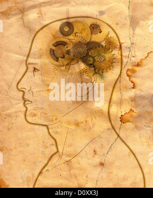 Man with gears in the head in grunge style - Stock Photo