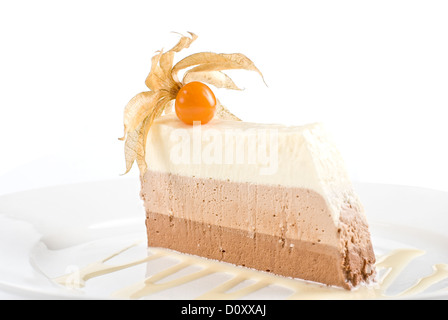 dessert from three different kind of chocolate - Stock Photo