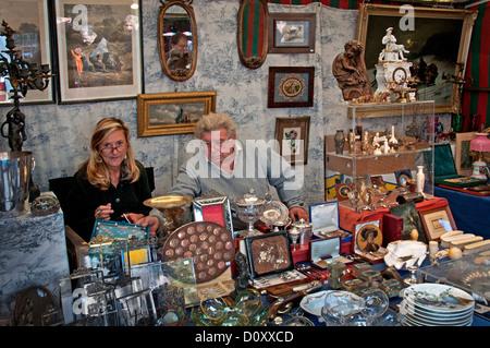 Brussels Bruxelles Belgium antiques market Grote Zavel Place De Grand Sablon Antique - Stock Photo