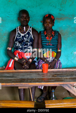 Portrait Of A Young Couple From Hamar Tribe In A Bar, Turmi, Omo Valley, Ethiopia - Stock Photo
