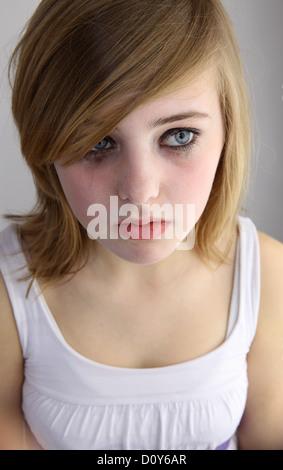 Berlin, Germany, girl crying - Stock Photo