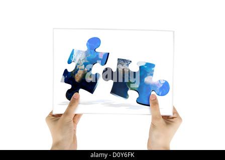 photo of global map puzzles communication - Stock Photo