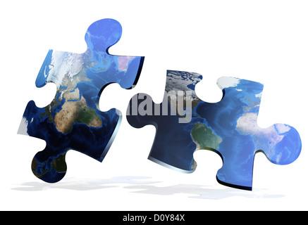 global map puzzles comunication - Stock Photo
