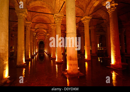 Water with fish and marble columns in the underground Basilica Cistern of Istanbul Turkey - Stock Photo