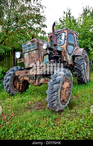 Old tractor against trees - Stock Photo