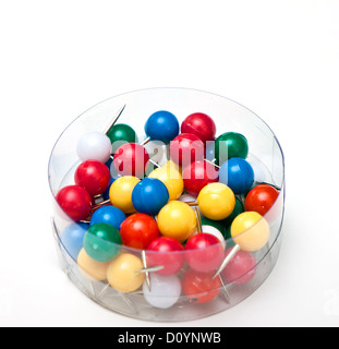 a bunch of pushpins in a box - Stock Photo