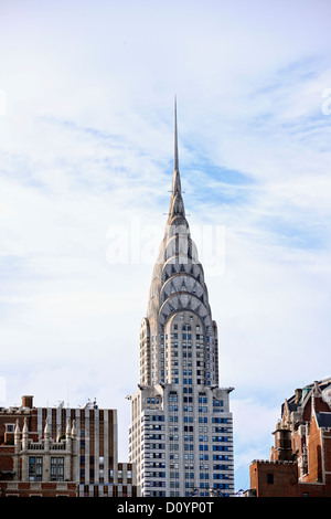 Top of the Chrysler Building as seen from the East River, New York, NY, USA - Stock Photo