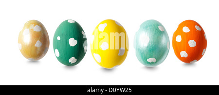 Five Easter eggs in a row - Stock Photo