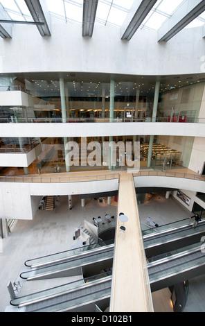 Central foyer of Det Kongelige Bibliotek, Danmark's Royal National Library, built by Schmidt, Hammer & Lassen in - Stock Photo