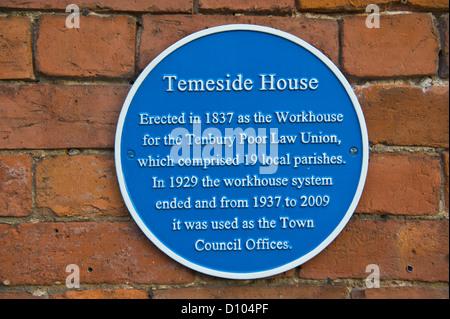 Blue heritage plaque on house in Tenbury Wells Worcestershire England UK - Stock Photo