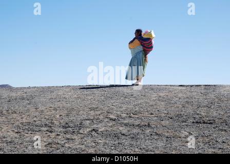 Aymara woman in the Cordillera - Stock Photo