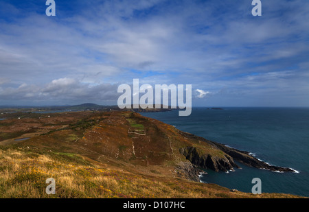 North Easterly View to distand Cape Clear Island from Slievemore, Sherkin Island, County Cork, Ireland - Stock Photo
