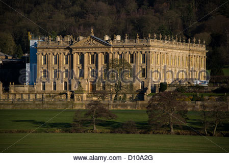 Chatsworth house home of the Duke and Duchess of Devonshire  Derbyshire Peak District England - Stock Photo