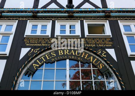 Holzschnitzerei am Restaurant und Brauhaus Weissenburg in Lippstadt, Nordrhein-Westfalen - Stock Photo