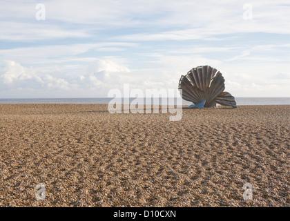 Maggi Hambling's sculpture 'Scallop' on Aldeburgh beach in Suffolk, England. - Stock Photo