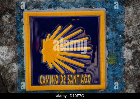 Camino de Santiago, waymarker; the stylized shell. - Stock Photo