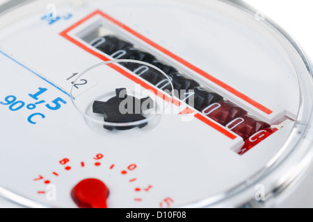 water meter close-up isolated on white background - Stock Photo