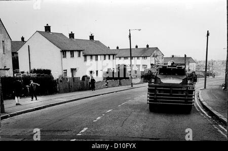 Am armoured vehicle known as a 'pig' from The Queens Regiment on patrol in Belfast , Northern Ireland in April 1984 - Stock Photo