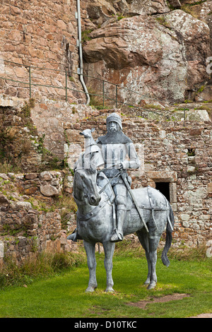 Mounted knight statue in metal, Mont Orgueil Castle, Gorey, Jersey, Channel Islands, UK - Stock Photo