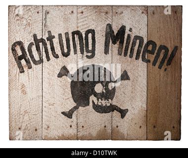 German Second World War mine warning sign, Achtung Minen - Stock Photo