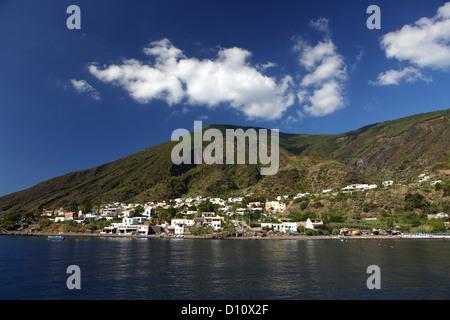 Santa Marina Salina seen from the sea, Aeolian Islands, Sicily, Italy - Stock Photo
