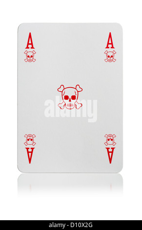 Ace of skull & cross bones playing card - Stock Photo