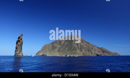 The rock called 'La Canna' at Filicudi island, Aeolian islands, Sicily, Italy - Stock Photo