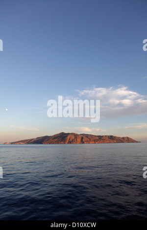 Lipari island seen from Salina, Aeolian Islands, Sicily, Italy - Stock Photo