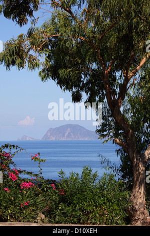 Lipari seen from Salina Island, Aeolian Islands, Sicily, Italy - Stock Photo
