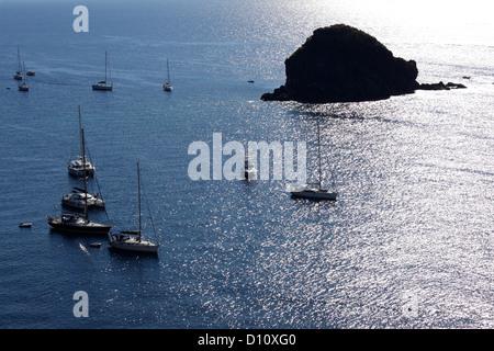 Aerial view of Pollara bay and Faraglione Rock, Salina, Aeolian islands, Sicily, Italy - Stock Photo