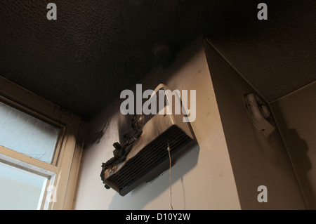 Fire damage from burnt-out fan heater in bathroom. Soot ...