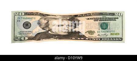 Falling image of 20 US dollar notes - Stock Photo
