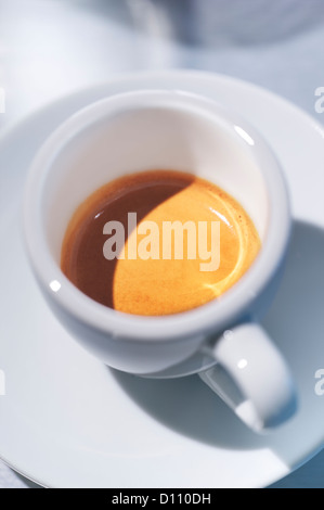 Overhead view of an espresso coffee - Stock Photo