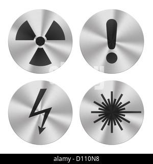 Signs on aluminum plates isolated on white.  Hazard group icons - Stock Photo