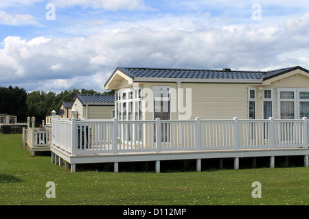 Luxurious static caravan's in holiday park, Cayton Bay, Scarborough, England. - Stock Photo