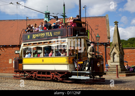 'Newcastle 114', built in 1901, in the high street of the Edwardian town that forms part of Beamish Museum in County - Stock Photo