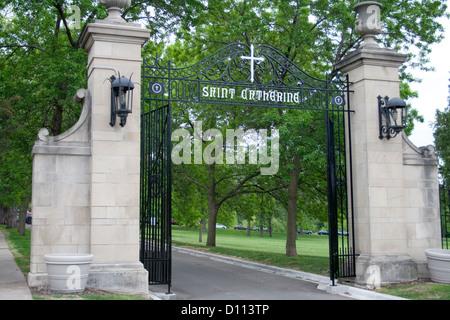 Gate to the beautiful St Catherine's University campus. St Paul Minnesota MN USA - Stock Photo