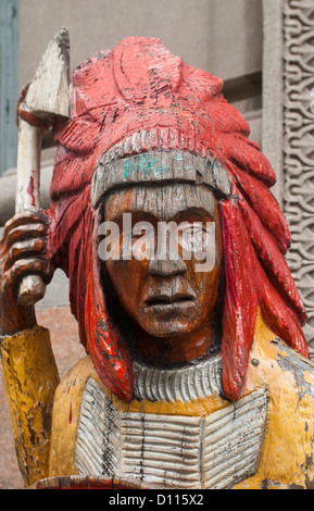 Indian Smoke Shop >> Cigar store wooden Indian sculpture on boardwalk in downtown Stock Photo, Royalty Free Image ...