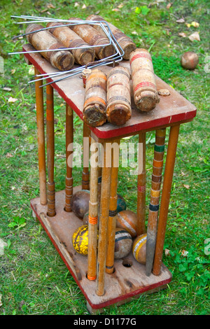 Portrait of a well used wooden croquette set. Clitherall Minnesota MN USA - Stock Photo