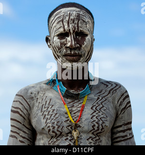 Portrait Of A Young Karo Tribe Man With Body Painting, Korcho Village, Omo Valley, Ethiopia - Stock Photo