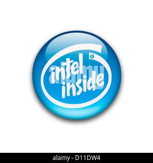 Intel inside logo symbol logotype flag - Stock Photo