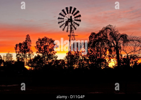Windmill at sunrise against colourful red and yellow streaked sky in the Australian outback, south-western Queensland, - Stock Photo
