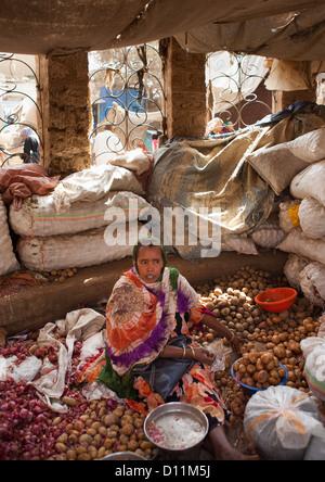 Portrait Of A Woman Seller In The Market, Dire Dawa, Ethiopia - Stock Photo
