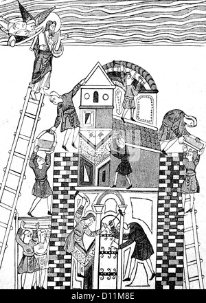 Illustration Of The Building Of The Tower Of Babel From The Book Cassell's History Of England Volume I - Stock Photo